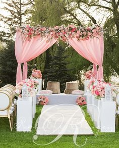 Pink and White Wedding Ceremony & Pink Outdoor Wedding Ceremony Floral Decor | Romantic Weddings ...