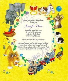 Little Golden Books Vintage Story book Birthday Party or Baby Shower Invitation - by PussysBowtique on madeit