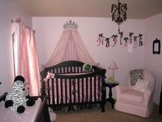 Elegant Pink and Black Princess Baby Girl Nursery w Zebra Print Decor, Crib Crown and Black Chandelier: Our pink and black princess nursery that we designed for our precious baby girl is a perfect blend of elegance and frivolous decor. The space is a example