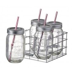 Parlane International Set of Four Retro Drinking Jars in a Crate - Parlane International from Mollie & Fred UK