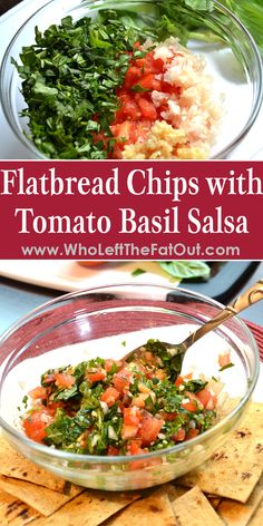 Try my healthier alternative to bruschetta with this Flatbread Chips with Tomato Basil Salsa recipe! Perfect for anyone trying to lose weight and not give up flavors they love.