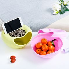 Home Party Candy Wweets Snacks Storage Box Nut Fruit Plate Dish Double Tray Garbage Box with Mobile Phone Holder