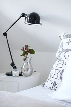 the Jielde lamp would also work for our bedroom and the Componibilis we already have there. Scandinavian Interior, My Dream Home, Sweet Home, Lighting, Bedroom, Interiors, Inspiration, Color, Aesthetics