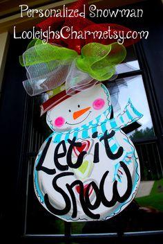 Door Hanger: Snowman, Christmas Decor, Christmas Door Hanger. $45.00, via Etsy.