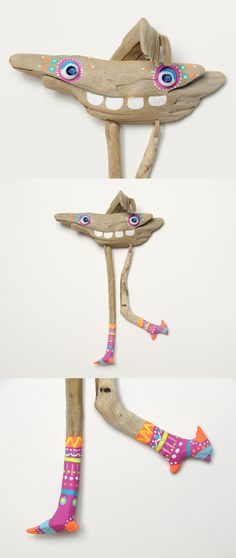 driftwood monster LOTTA | acrylic painting and lampwork techniques by JEVO