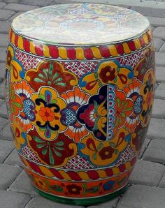Large Mexican Talavera Stool Table
