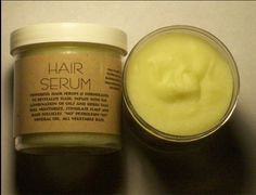 Hair Serum Powerful hair serum is formulated to revitalise hair. Infuse with the combination of oils and herbs that will moisturize, stimulate scalp and hair follicies.  INGREDIENTS: Olive Oil, Avocado Butter, Mango Butter, Bees Wax, Jojoba Oil, Caster Oil, Rice Bran Oil, Hemp Seed Oil. HERBAL INGREDIENTS: Chamomile, Rose Buds, Nettle, Peppermint, Sage, Green Tea.  6oz Jar Price: $5.75