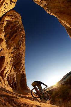 Morning mountain biking - Perhaps this is Slick Rock in Moab?