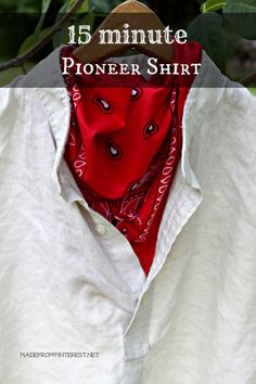 Turn a collared shirt into a rustic pioneer shirt in just 15 minutes! I made 6 in an hour and a half. Tutorial at MadeFromPinterest.net