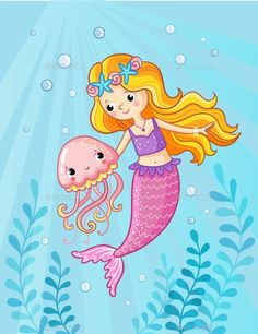 Buy Mermaid with a Jellyfish Underwater by svaga on GraphicRiver. Mermaid with a jellyfish under water. Vector illustration of a cartoon style on a childrens theme. Art Drawings For Kids, Drawing For Kids, Easy Drawings, Cute Mermaid, Mermaid Art, Art Wall Kids, Art For Kids, Mermaid Cartoon, Cartoon Butterfly