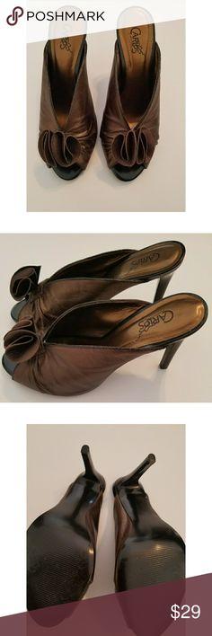 Selling this Carlos Santana Bronze Peep Toe Leather Heels on Poshmark! My username is: ageenah. #shopmycloset #poshmark #fashion #shopping #style #forsale #Carlos Santana #Shoes