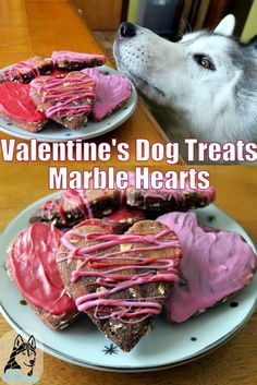 Valentine's Dog Treats DIY! DIY Valentine's Dog Treats are the perfect treat to make with your dog this Valentine's day! Try These easy Marble Hearts! Puppy Treats, Diy Dog Treats, Homemade Dog Treats, Gourmet Dog Treats, Dog Treat Recipes, Dog Food Recipes, Valentines Day Dog, Diy Valentine, Dog Bakery