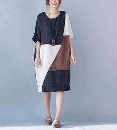 New Arrival Summer Fashion Arts Style Women Short sleeve Loose Casual Long Dress Patchwork cotton linen Vintage Maxi Dress H063