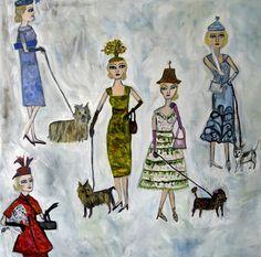 Blonde haired women in absurd little hats walking miniature dogs