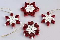 MINI SNOWFLAKES SET OF FOUR These teeny little quilled snowflakes will add a touch of festive spirit to your home this Christmas and they measure a mere 3cm each!!! You dont just have to hang these snowflakes on your Christmas tree, you can also ☆ Hang it in a window ☆ Use it as