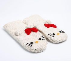 Hello Kitty Knit Mittens: White