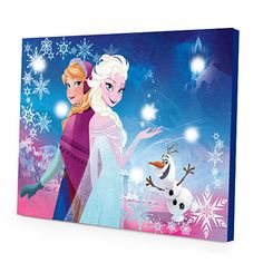 Disney Frozen Canvas LED Wall Art Hang the Disney Frozen LED Canvas Wall Art in your child's bedroom to display a colorful print of your child's favorite Disney Frozen princesses, Anna and Elsa. The LED Lights will light up your child's room to. Disney Wall Decals, Kids Wall Decals, Art Wall Kids, Canvas Wall Art, Art Kids, Frozen Disney, Frozen Elsa And Anna, Frozen Frozen, Elsa Anna