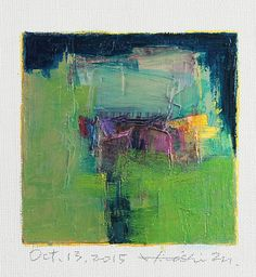 Oct. 13, 2015 - Original Abstract Oil Painting - 9x9 painting (9 x 9 cm - app. 4 x 4 inch) with 8 x 10 inch mat