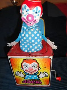 Jack In The Music Box Vintage Mattel Clown by moretreasuresfouryou Pop Goes The Weasel, Send In The Clowns, Jack In The Box, Metal Toys, Old World, Vintage Toys, Childhood Memories, Lunch Box, Give It To Me