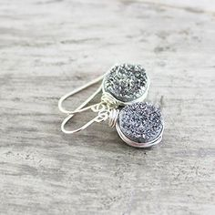 Silver Druzy Gemstone Wire Wrapped Earrings * Continue to the product at the image link. (Amazon affiliate link)