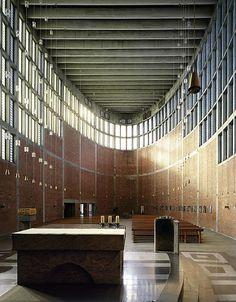 Church Interior Ceiling Concrete Brick  Rudolf Schwarz-St. Theresia in Linz, 1959-62