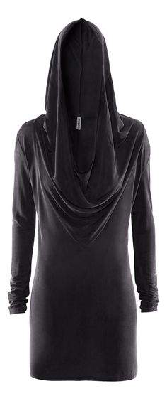H Divided Grey - black hood dress.