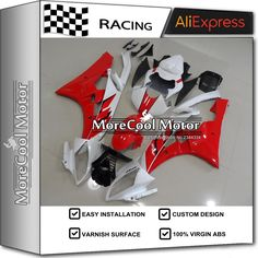 418.30$  Watch now - http://aliajc.worldwells.pw/go.php?t=32751042008 - Complete Fairing For Yamaha YZF R6 2006 2007 YZF-R6 06 07 RED And White 100% Virgin ABS Plastic Injection Mould 418.30$