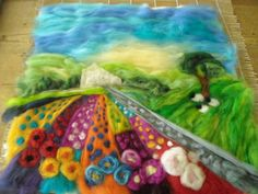 sue forey fibre art: Painting with fibres, how to make a felt picture. 1.