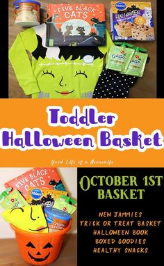 Toddler Halloween basket Halloween is so much fun with Toddlers. I wanted to do something fun for Libby for Halloween. I made a basket with pajamas, a book, and some halloween snacks Halloween Tags, Halloween Gift Baskets, Halloween Books, Halloween Snacks, Halloween Crafts For Kids, Easy Halloween, Holidays Halloween, Halloween With Toddlers, Halloween Party