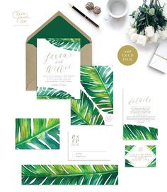 JARAUX SUITE // Botanical Palm Leaf Wedding Invitation, Banana Leaf, Tropical Palm, Beach Wedding, Watercolor, Desintation Invitation
