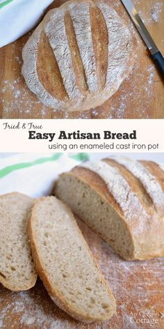 A super easy artisan bread that forms great, effortless crust by cooking in a cast iron Dutch oven