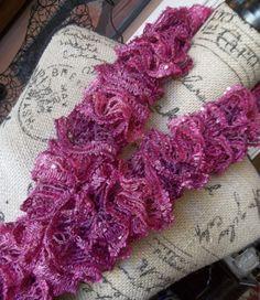 Hot Pink Frilly Scarf by FluffyGoatFeathers on Etsy, $18.00