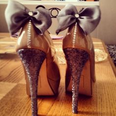 DIY glitter bedazzled heels with bows