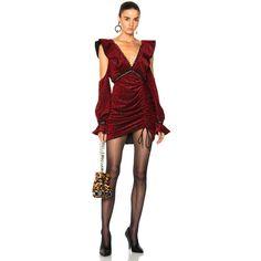 cf04e50092d11e self-portrait Red V-Neck Frill Mini Dress ( 495) ❤ liked on