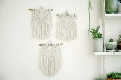 Macrame Tapestry,Boho Wall Hanging,3 Macrame Wall Hanging,Small Macrame Hanging, Wall Tapestry, Boho decor, Wall art, Trio wall tapestry Macrame wall hanging is a beautiful room decorations for your bedroom room, or your babys nursery. This Macrame Tapestry is so unique it can be a wonderful gift for baby birth or baby shower. This macrame Wall Hanging is a special decoration that you never seen in others houses! It made from natural wood and cotton cord. This modern macrame gives your room…
