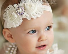 JOIN OUR FB PAGE FOR WEEKLY GIVEAWAYS, COUPONS AND SPECIAL OFFERS!  http://www.facebook.com/ThinkPinkBows  Headband as pink and white. This beautiful headband features two frayed shabby chic flowers on an soft and stretchy headband. It is topped with a luxurious and eye catching rhinestone. The flowers are felt backed for comfort. Simple and yet elegant, sure to be a real head turner!! Pair it with one of our adorable lace petti rompers for a complete look. Size Chart  Newborn:...