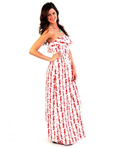 White and Red Sea Horse Dress - Lotus Boutique
