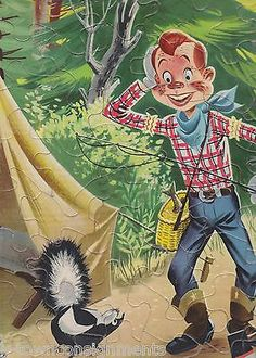 HOWDY DOODY GOES CAMPING W/ A SKUNK VINTAGE 1950s GRAPHIC CARTOON PICTURE PUZZLE