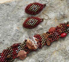 The Traveler  Free Form Peyote Stitch Beaded Bracelet & Earrings by Cheri C Meyer, on Etsy