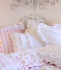 summers cottage bedding | SHABBY COTTAGE CHIC LAYERS OF DREAMY WHITE RUFFLES COMFORTER SET ...