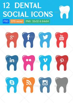 12 Dental Clinic Social Icons #GraphicRiver This pack contains 12 Dental Social Icons perfect for dental clinics ans websites: 12 colorful icons on tooth shapes. In the pack you will find EPS, PSD, PNG (32×32px, 64×64px, 128×128px sizes) files. All icons are 100% vector. They are all extremely easy to use and resize. Created: 3June13 GraphicsFilesIncluded: PhotoshopPSD #TransparentPNG #VectorEPS HighResolution: Yes Layered: Yes MinimumAdobeCSVersion: CS PixelDimensions: 128x128 ...
