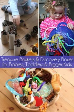 Not just for babies! Treasure baskets and discovery boxes your toddlers and preschoolers will also love. Great sensory play and exploration ideas.