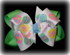 Sparkle Easter Egg Double Layered Hair Bow by MyBellaBellaBowtique, $5.75
