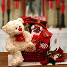 """Say Youll Be Mine Valentine Gift Basket Make their heart skip a beat when you ask for their heart this Valentines day! This adorable plush bear wears a heart around his neck that says """"Be Mine"""" and has his heart embroidered on his paw. His heart and his chocolate will win your Valentines heart over this year #Valentine day #USA"""