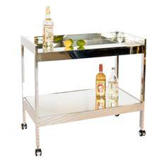 Worlds Away Roland Bar Cart in Nickel