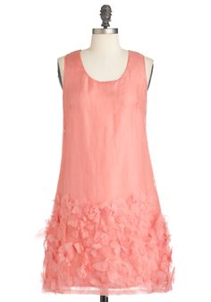 Only a Moment Dress - Mid-length, Pink, Solid, Flower, Party, Sheath / Shift, Sleeveless, Summer, Wedding