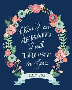 Psalm 56:3 Bible Verse Wall Art Printable by EnchantedDesigns4U