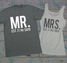 ♥♥ This listing is for 1 ladies Jersey Tank top with and one tri-blend mens crew-neck t-shirt with Writing. Options chosen below. ♥♥