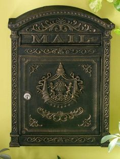 """Victorian Style Locking Mailbox (Bronze) (17.5""""H x 12.25""""W x 3.75""""D) by Fuoriserie. $107.00. Die cast aluminum. Powder coated finish. Locking with 2 keys. Size: 17.5""""H x 12.25""""W x 3.75""""D. Color: Bronze. Classical motifs, Victorian details, and a variety of beautiful finishes are what make this wall mounted mail box a great enhancement for any home's entrance. This locking mailboxis crafted fromdie cast aluminum with an antique powder coat finish. Two keys are inclu..."""