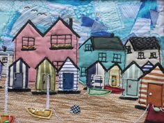 nautical decor - handmade wall art - machine applique embroidered  beach huts and boats